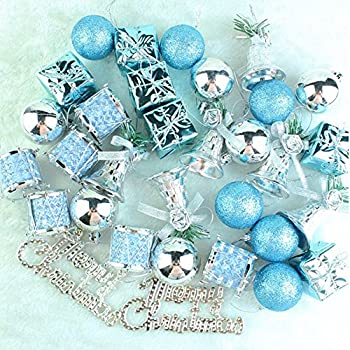 loveinusa 32 pcs mixed christmas ball pendant xmas tree ornaments decorations setblue silver - Aqua Christmas Decorations