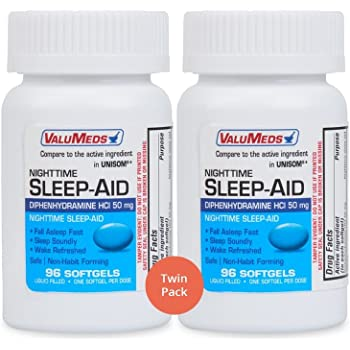 ValuMeds Nighttime Sleep Aid (Twin Pack - 192 Softgels) Diphenhydramine  HCl, 50 mg | Supports Deeper, Restful Sleeping for Men, Women (Compare to  Active ...