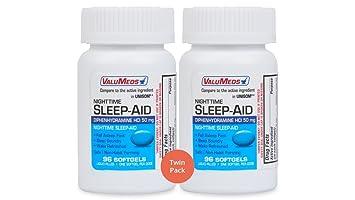 ValuMeds Nighttime Sleep Aid (Twin Pack - 192 Softgels) Diphenhydramine  HCl, 50 mg