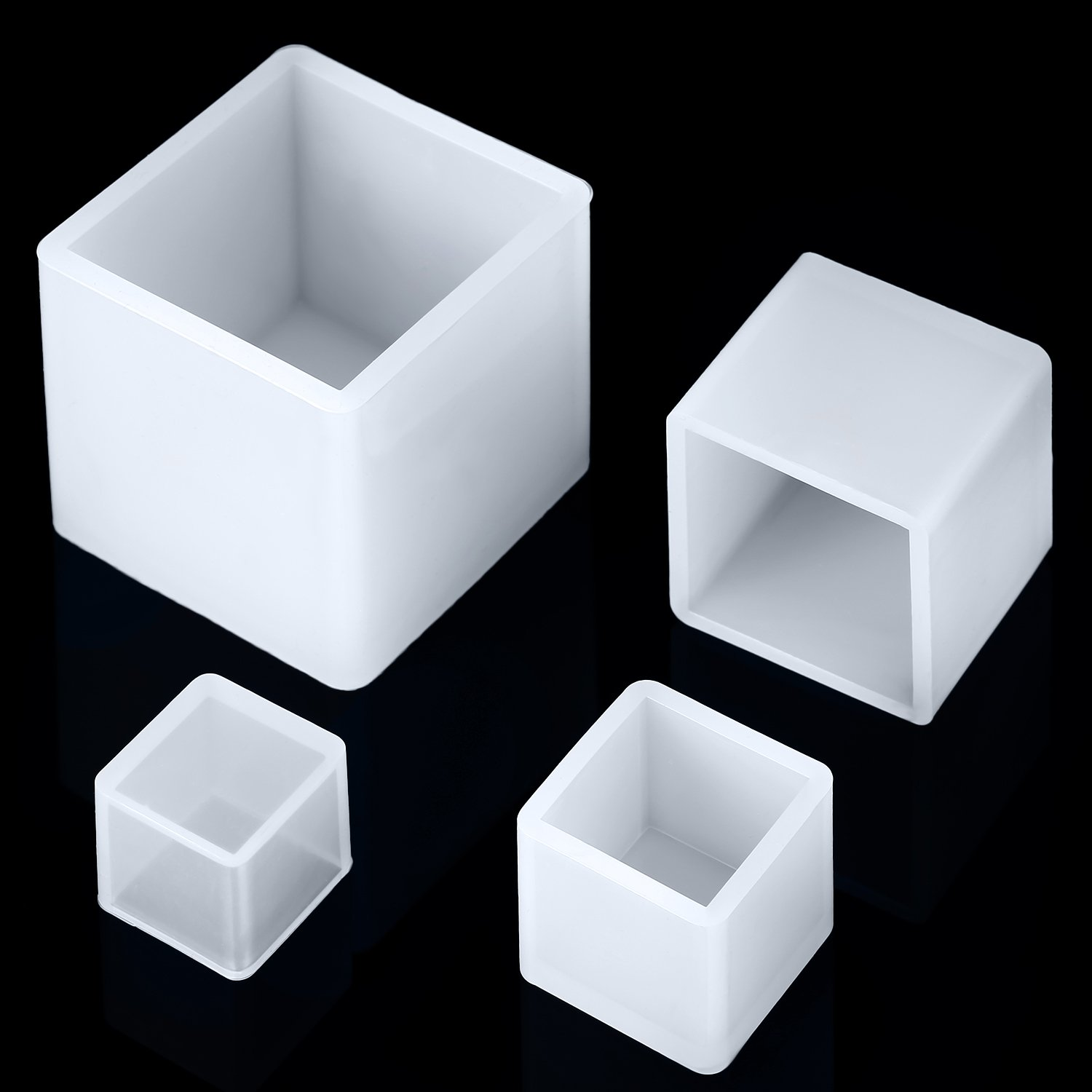 4 Pieces Square Resin Mold Cube Silicone Molds Resin Casting Molds for DIY Craft Making, 4 Sizes Jovitec