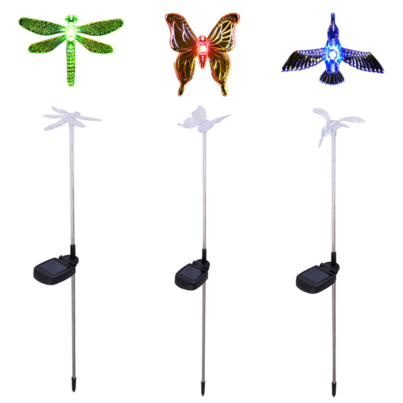Garden Lights, 3 pack Garden Solar Lights Outdoor Multi-color Changing LED Hummingbird, Dragonfly, Butterfly Lights ,with a White LED Light Stake for Garden Decoration by ZFengling