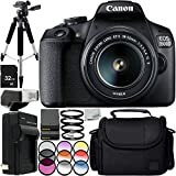 "Canon EOS 1500D/Rebel T7 w/ 18-55mm Lens and 11pc Accessory Bundle – Includes 32GB SD Memory Card + 2x Replacement Battery + 57"" Tripod + Medium Case + MORE - International Version (No Warranty)"
