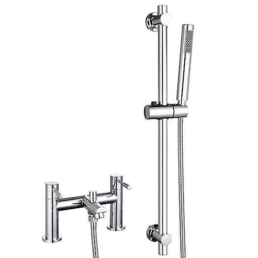 Bath Shower Mixer Tap Riser Rail Kit Chrome Bathroom Filler Taps Monobloc WasserRhythm