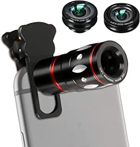 Phone Camera Lens Kit, 4 in 1 Cell Phone Lens - 10X Telescope Lens + 180°Fisheye Lens + 0.45X Wide Angle Lens + 10X Macro Lens for iPhone X/8/7/6/6s Plus Samsung Android & Phone (Black)
