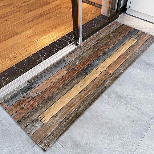 Rustic Old Wooden Board Print Memory Foam Doormat Non Slip Super Absorbent Soft Coral Fleece Bathroom mats Bath Rugs Doormats Carpet 47 X 16 Inches (Rustic Rugs Bathroom)
