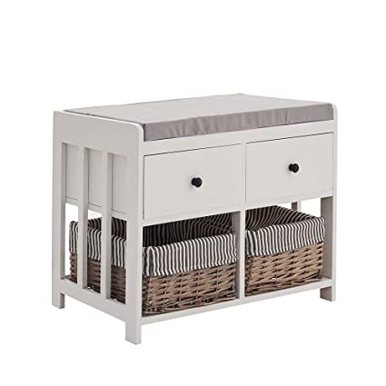 Fantastic Keinode Storage Bench With 2 Drawers 2 Washable Basket Hall Seat Cushion Shoe Cabinet For Living Room Bedroom Bathroom Hallway White Grey Type A Lamtechconsult Wood Chair Design Ideas Lamtechconsultcom