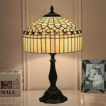 JKL Lámpara de mesa Tiffany creativa de 12 pulgadas E27 Vidrio ...
