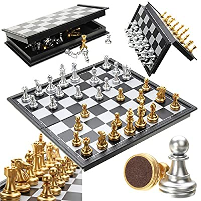 Placed Chess Set Board Game Toys - Chess Game Silver Gold Pieces Folding Magnetic Foldable Board Contemporary Set - Rigid Fixed Arranged Primed Gear Situated Determined Located Settled - 1PCs
