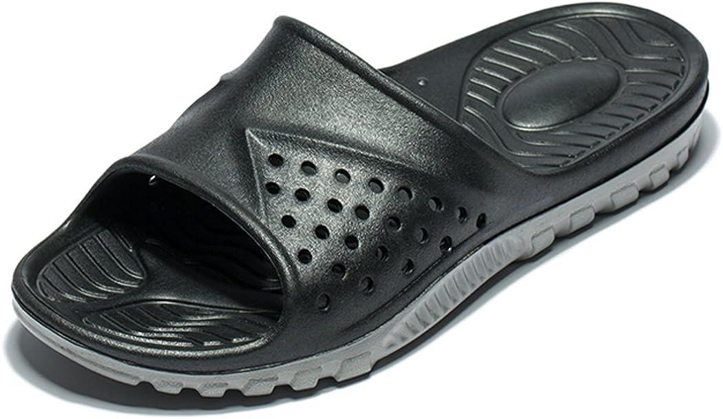 Wodebuy Men'S Shower Sandals Antislip Fast trocken Flilp Flop Flats Beach Pool Shower Size 7 (7 D(M) Us, Black)