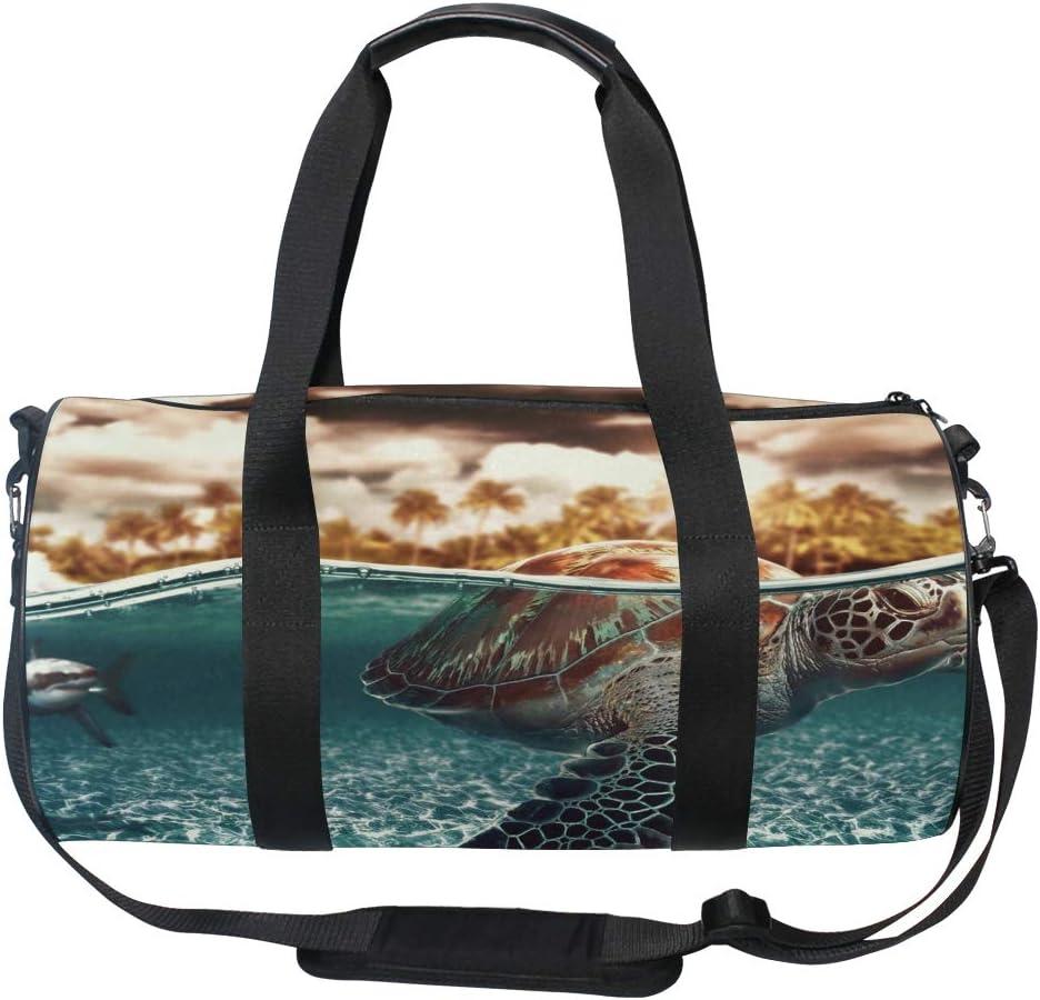 OuLian Gym Bag Turtle in The Waves Women Canvas Duffel Bag Cute Sports Bag for Girls