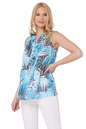 08456a73a4c84e Roman Originals Womens Sleeveless Tropical Burnout Print Top - Ladies  Summer Daytime Beach Holiday Going Out Tops - Blue - Size 20  Amazon.co.uk   Clothing