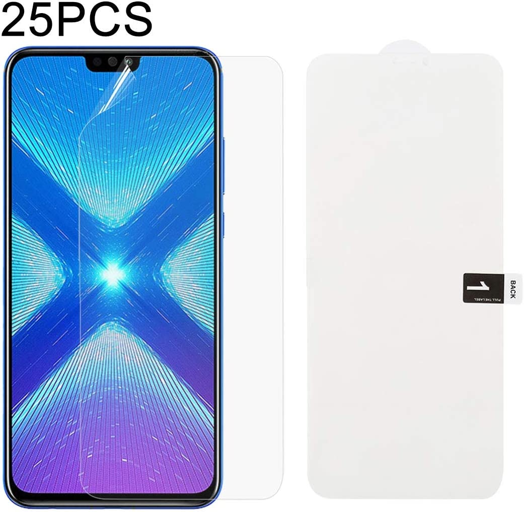 JIANGNIUS Screen Protectors 25 PCS Soft Hydrogel Film Full Cover Front Protector with Alcohol Cotton Scratch Card for Huawei Honor 8X