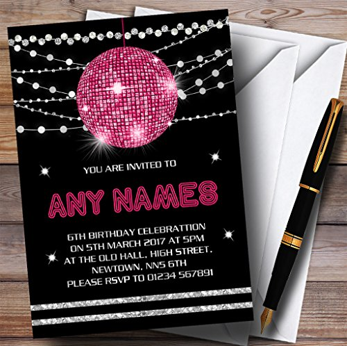 Pink Disco Ball Invitations Childrens Birthday Party Invitations (Disco Ball Invitations)