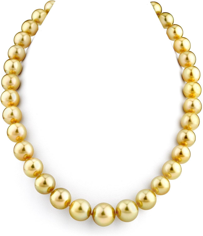 11-13mm oscuro de oro collar de perlas cultivadas del Mar del Sur