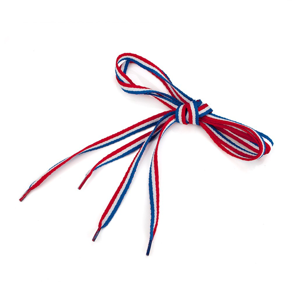 TopTie Patriot Style Red/White/Blue Stripe Shoelaces Wholesale, 45 Inch Long 100PAIRS