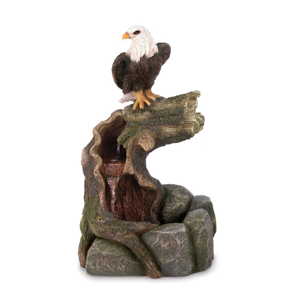 New Majestic Bald Eagle Garden Water Fountain Country Wester Lawn Decoration