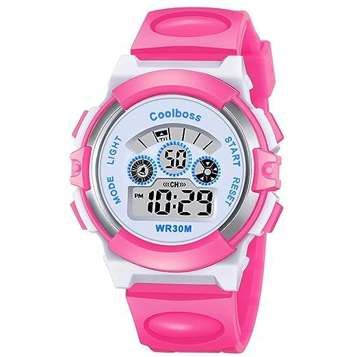 VICVIO Relojes Deportivos Impermeable para los Niños/Niñas Reloj de Pulsera Digital a Prueba de Agua Infantiles Azul / Amarillo (Rosa): Amazon.es: Relojes