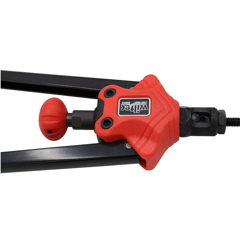 WilTec Pince Rivets de Traction Pince pour Rivets aveugles /Écrous /à sertir Set 7 Mandrins interchangeables