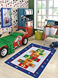 SavaHome ADK1011 Kids Non-Slip Rubber Back Extremely Durable Anti-Slip Water Resistant Small Rug for Childrens Room Play Room Fun & Smart Kids Home Décor - Animals World 4'4'' x 6'2''