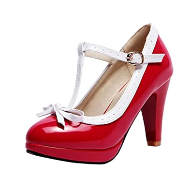 4aa56b4fd60846 Mee Shoes Damen Modern süß populär t-Strap Schnalle mit Schleife Runder Toe  Lackleder Plateau