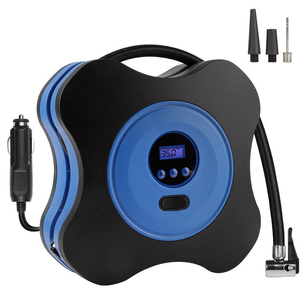 Luftkompressor Surenhap Reifenpumpe 12V DC Luftpumpe mit Digital LCD anzeige fü r Auto Fahrrad luftmatratze Luftballon&Basketball (blau)