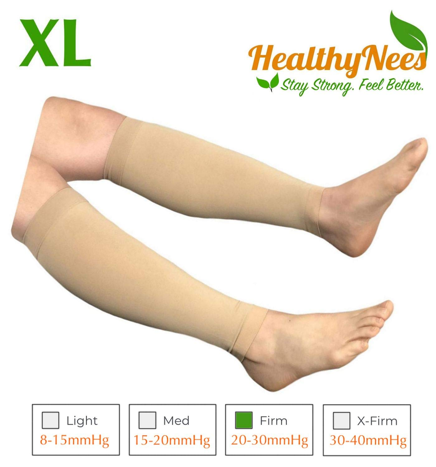 HealthyNees Shin Calf Sleeve 20-30 mmHg Medical Compression Circulation Extra Wide Plus Size Big Tall Leg Thick Calves Firm Support (Beige, Regular Calf XL) by HealthyNees