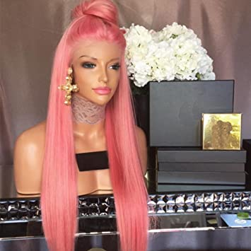 Amazon Com Straight Hair Wig Lace Front Wigs Ombre Pink Color Full