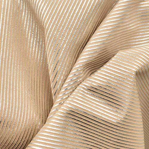 Calfskin Metallic Leather (Fashion Leather Calf Hide 4.2 SF Metallic Silver Peach 1oz Embossed Stripes-2)