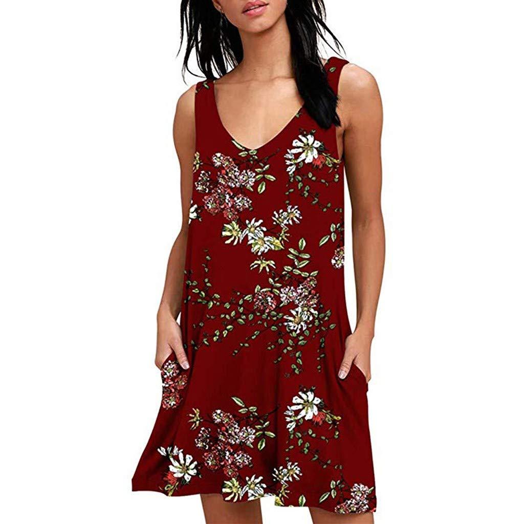 LEERYAAY Women Casual Sleeveless Boho Flower Print Beach Party Wedding Long Dress