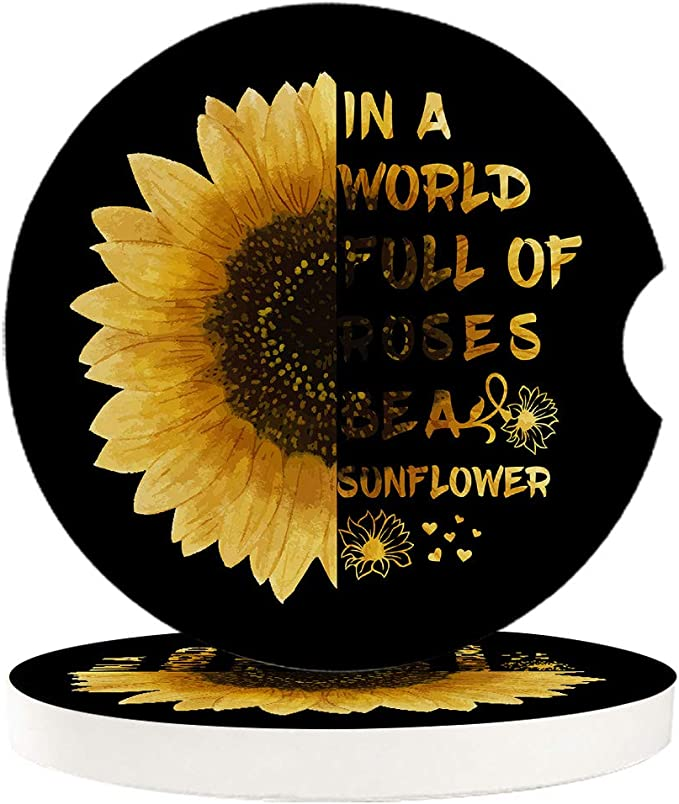 Tumbled Tile Coasters Set of 2~TUSCAN SUN SUNFLOWERS BLOOMING SUMMER SPLENDOR