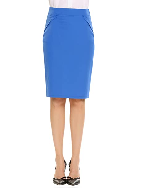 ddefb70730ce Women s Basic Semi Formal Slim Fit Midi Pencil Skirt at Amazon ...