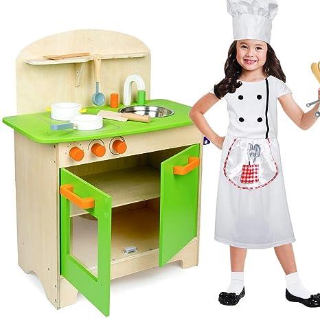 Bakaji Cucina in Legno Giocattolo per Bambini con Lavello in Acciaio Inox  Piano Cottura Mobile Doppio 035f86d26b3f