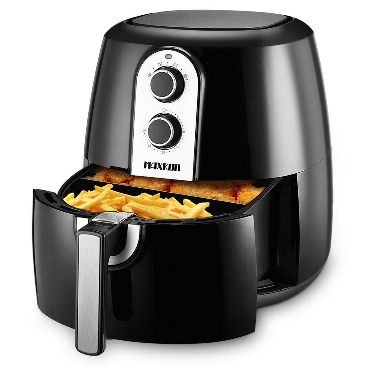 Maxkon 5.8 Qt Air Fryer 8-in-1 XL with 6-piece Accessory Set Recipes Cooker, 80% Oil Less 1800 Watt Electric Deep Fryers