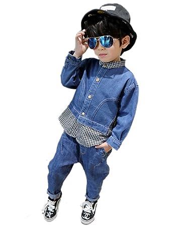 589911ddb66b2 cnstone 韓国子供服 セットアップ デニム パンツ ジャケット 男の子 女の子 キッズ 上下セット パンツセット (