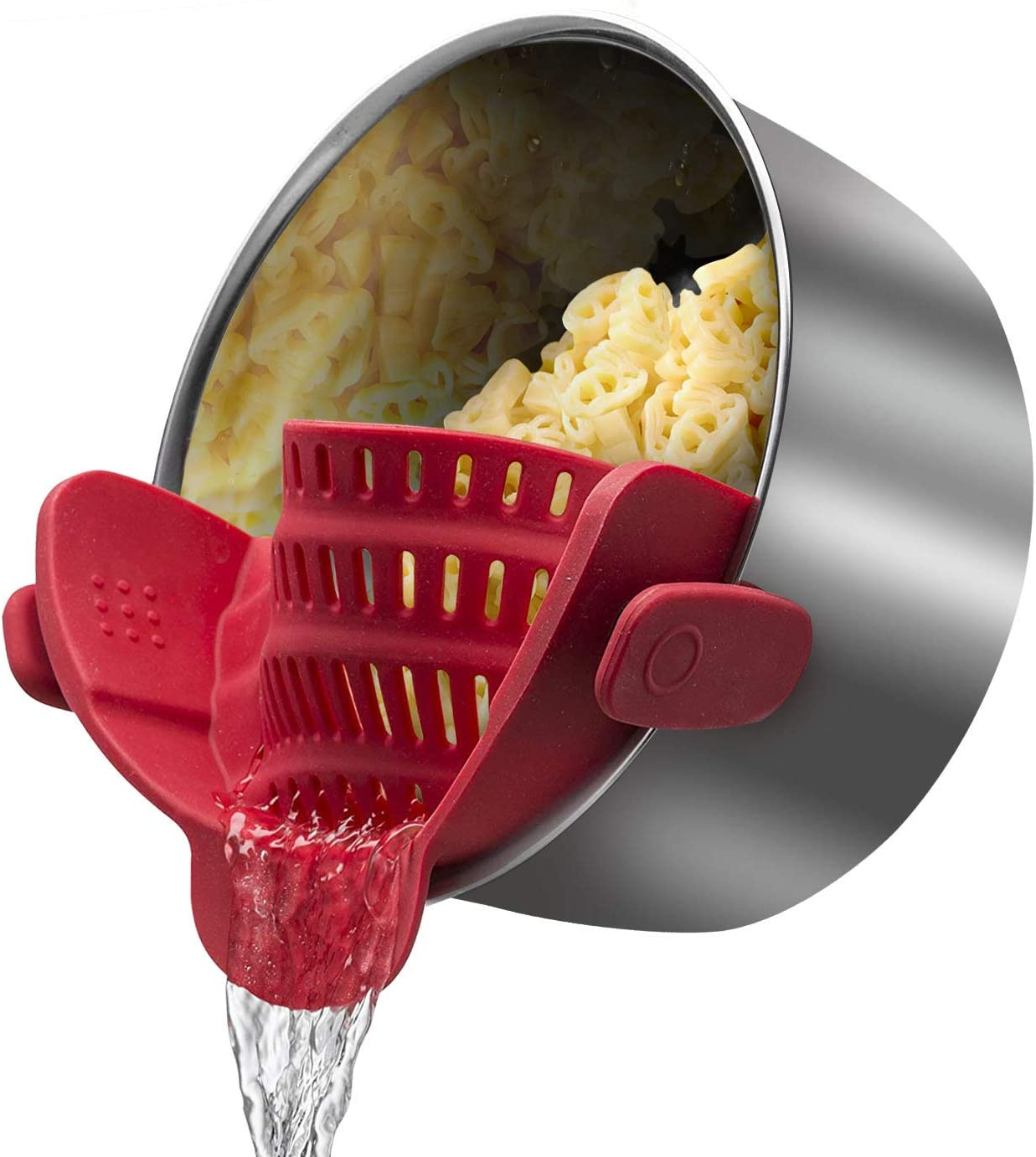 Clip-On Strain Strainer for Spaghetti, Pasta, and Ground Beef Grease, Colander and Sieve Snaps On Bowls,Fits all Pots and Bowls,PDA Approved, Heat Resistant Silicone(Red)