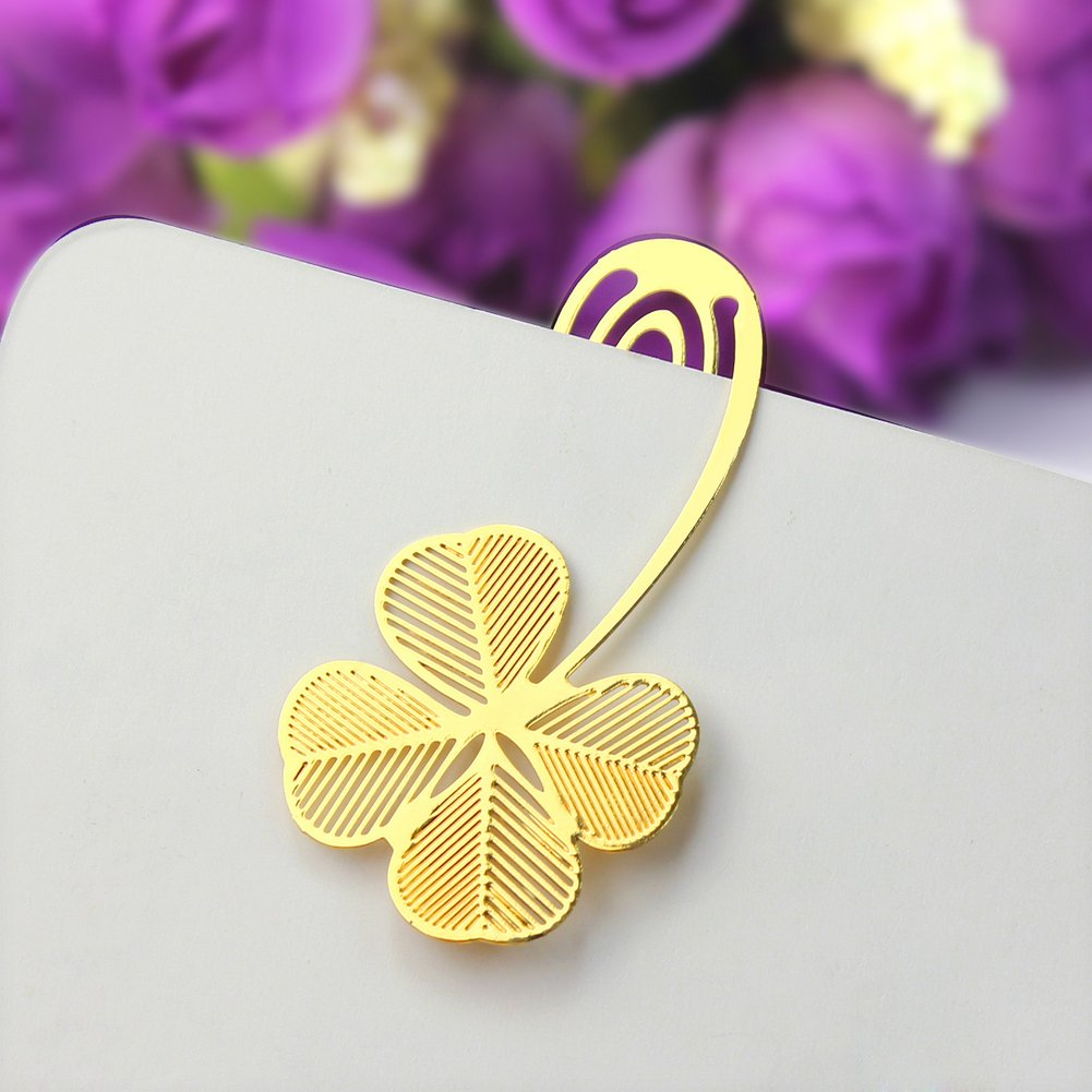 Lamdoo Reading Four-Leaf Clover Metal Clip Gift Bookmark Book Mark for Kids