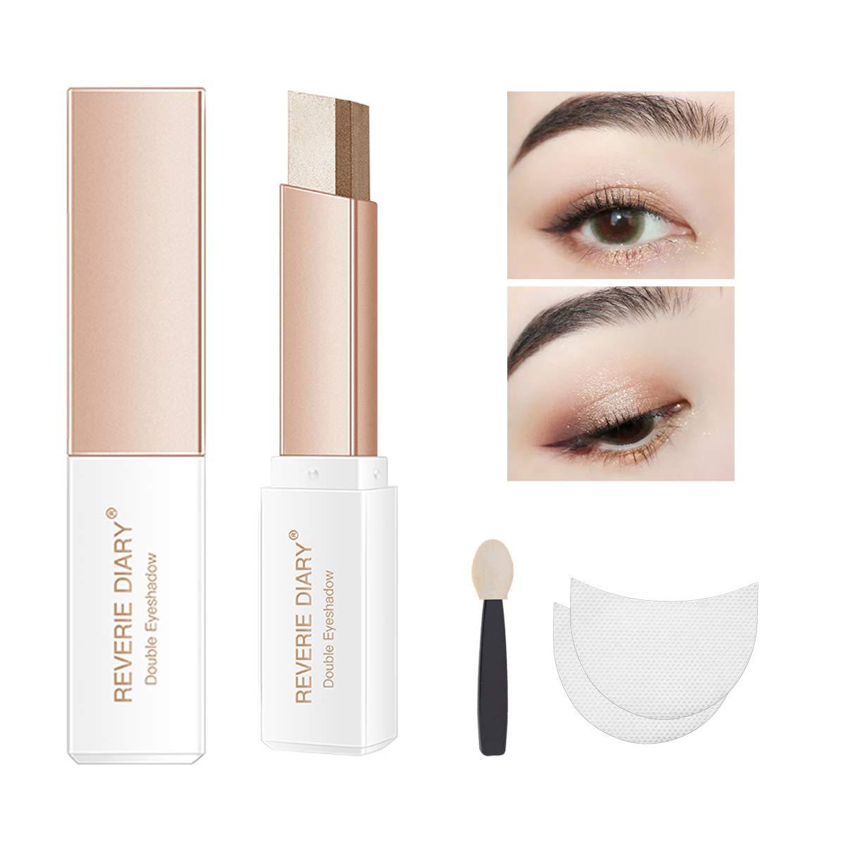 Three-piece eyeshadow stick eyeshadow prush eyeshadow sticker, eyeshadow stick two-color gradient glitter eye shadow pen rotating design, simple makeup, waterproof and not Blooming(BrownCoffee