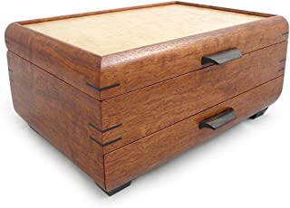 product image for Modern Artisans Handmade Natural Bubinga and Maple Wood Jewelry Box with Drawer