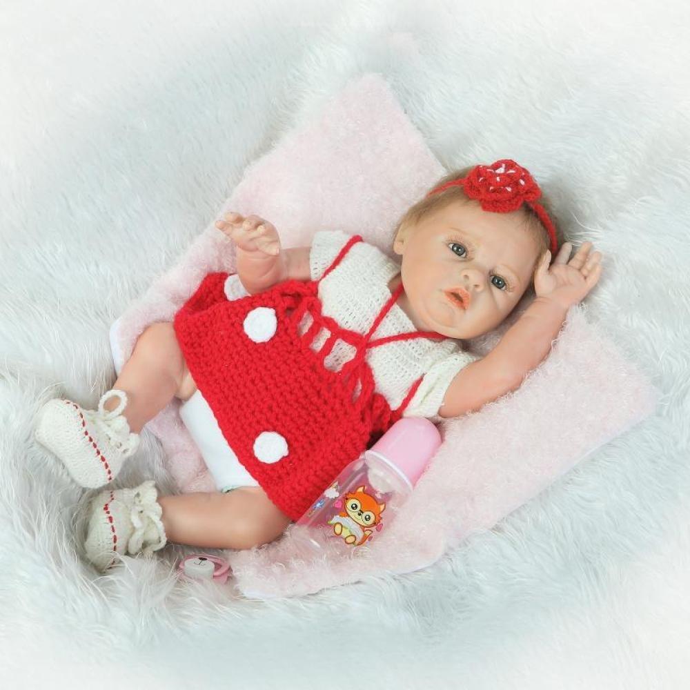 Simulación Reborn Baby Silicone Cute Girl Puede Entrar En El Agua Mate Juguete Niños Regalo De Vacaciones Creativo 50 CM