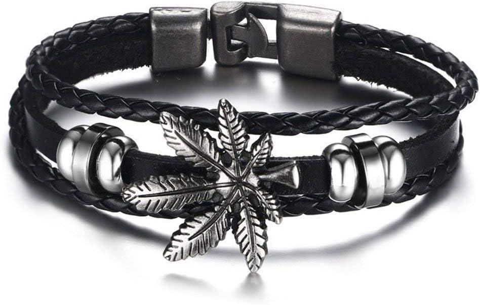Fashion Leather Bracelet For Men Women Vintage Leaf Weed Charm Bracelet Bangl V!