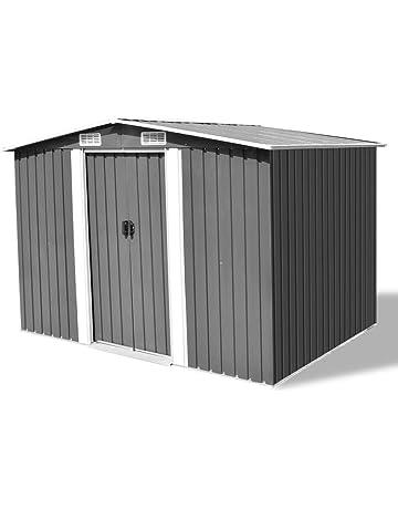 vidaXL Caseta de Almacenaje Jardín Metal Gris 257x205x178 Cobertizo de Patio