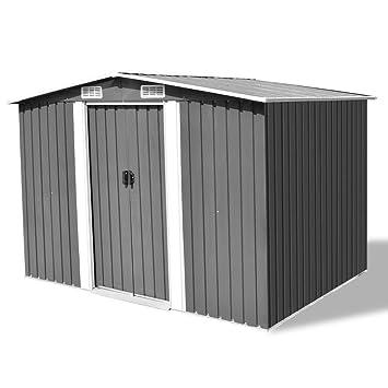 Festnight Cobertizos Caseta de Almacenamiento de Metal Gris 257x205x178 cm