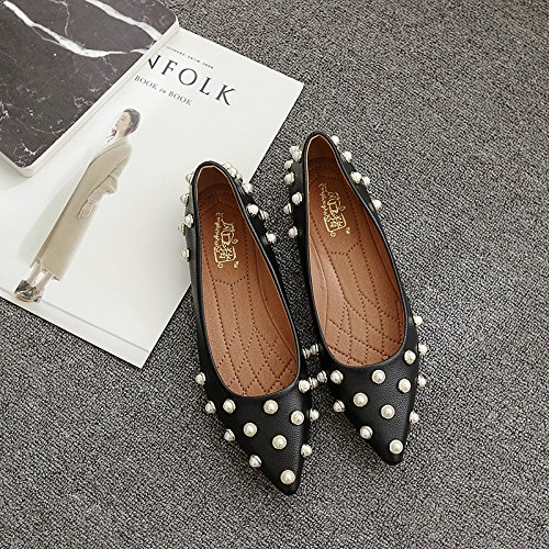 Xue Qiqi Court Schuhe Flacher Schuh der flachen Schuhe des flachen Absatzes Wulstige zufällige Schuhe des Schuhes Schuhe Vier beschuht die Schuhe der Frauen 36 schwarz