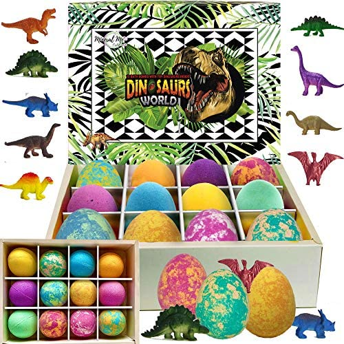 Bath Bombs for Kids with Toys Inside – Set of 12 Colorful Egg Bath Fizzies with Dinosaur Surprise. Gentle and Kids Safe Spa Bath Fizz Balls Kit. Birthday or Easter Gift for Girls and Boys