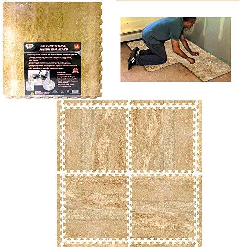 144 Sq Ft Eva Interlocking Mats Room Floor Foam Stone Finish Mat Home Office -
