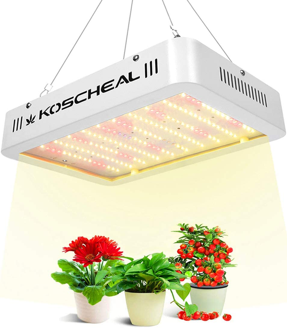 LED Grow Light 600w KOSCHEAL Sunlike Full Spectrum Grow Lamp with Daisy Chain,2nd Generation Plant Light White Led with UV&IR for Hydroponics Indoor Plants