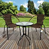 Marko Outdoor 3 & 5 Piece Bistro Set Chocolate Wicker Rattan Woven Chairs Round Glass Table (3 Piece Set)