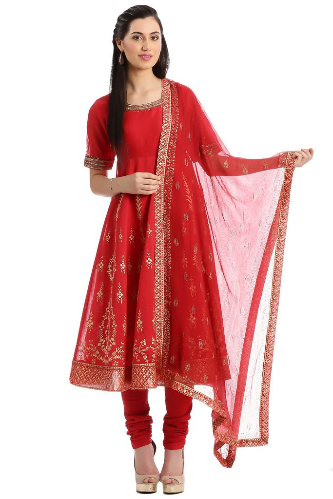 BIBA Women's Anarkali Cotton Silk Suit Set 36 Red
