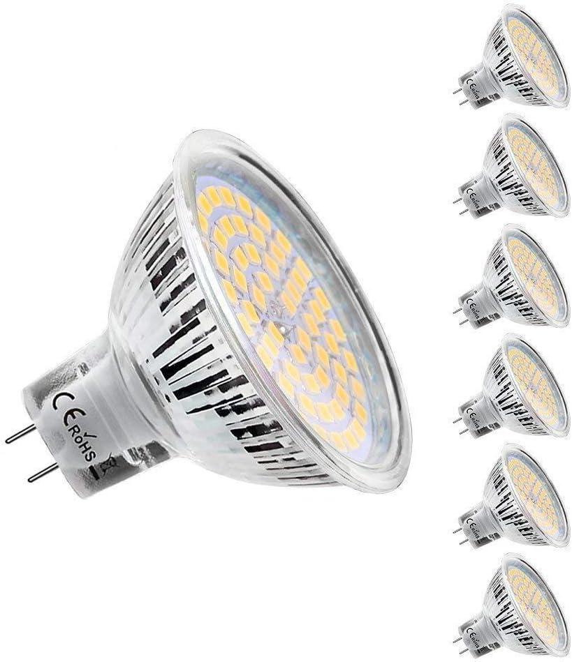 KDP Ampoules Led MR16 GU5.3 12V, Blanc Chaud 2800K, 5W Equivalent 50W Lampe Halogène, 450LM, 120° Angle Ampoules Led Spot, Lot de 6
