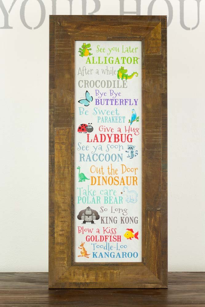 See You Later Alligator After Awhile Crocodile Children's Restored Restoration Nursery School Picture Decor 11x26''